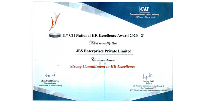 HR Excellence Award Certificate 2020-21